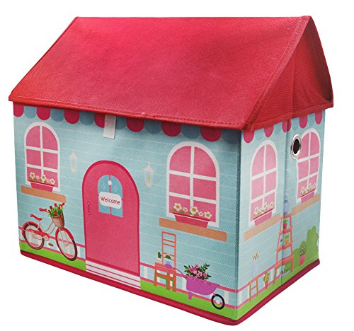 Kid Storage box, Organization box with cover, Toy chest, Playing house (Pink House) by Leisurelife