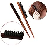 MAXGOODS Boar Bristle Hair Brush,3 Row Teasing Hair Brush Comb with Wooden Handle,Hair Care Scalp Massager for Hair Growth,Pack of 2