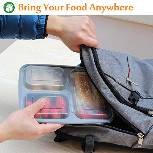 Enther Meal Prep Containers [20 Pack] 3 Compartment with Lids, Food Storage Bento Box | BPA Free | Stackable | Reusable Lunch Boxes, Microwave/Dishwasher/Freezer Safe,Portion Control (36 oz) by Enther (Image #2)