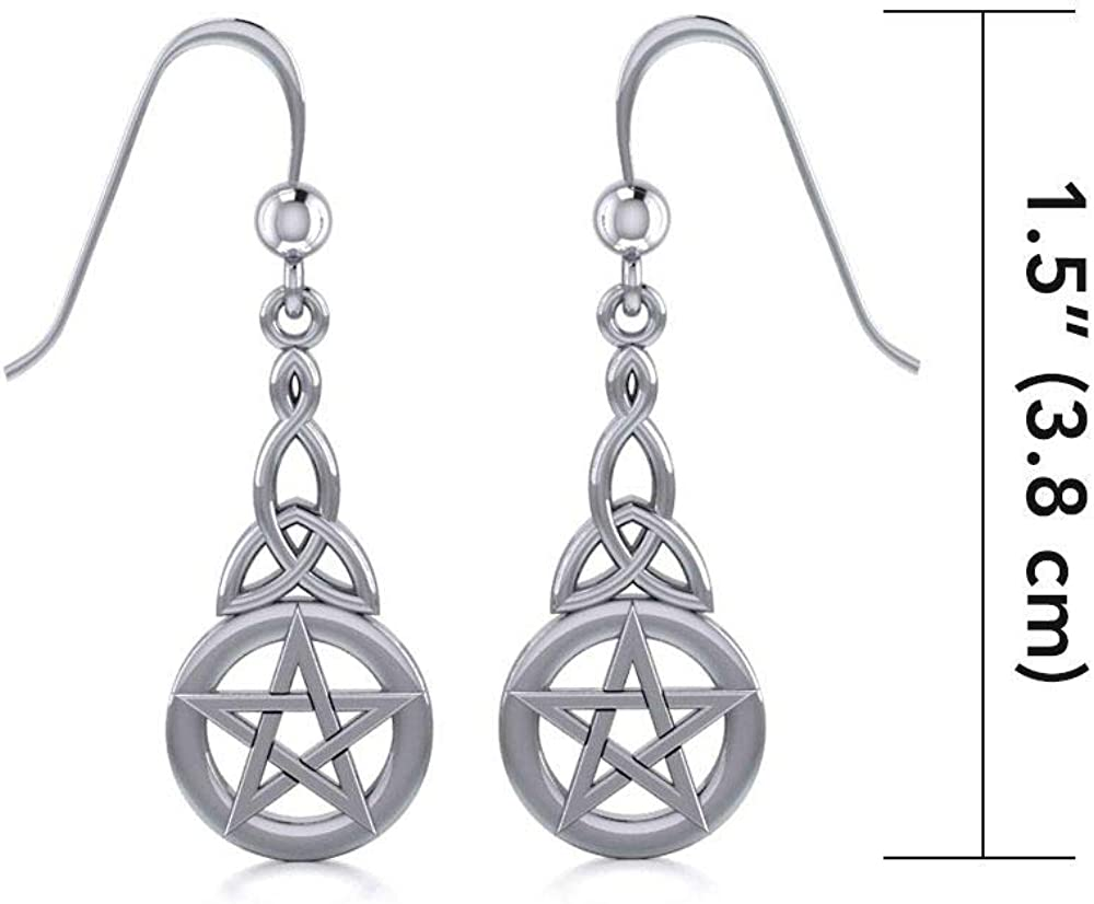 Jewelry Trends Pentacle Trinity Knot Celtic Sterling Silver Dangle Earrings