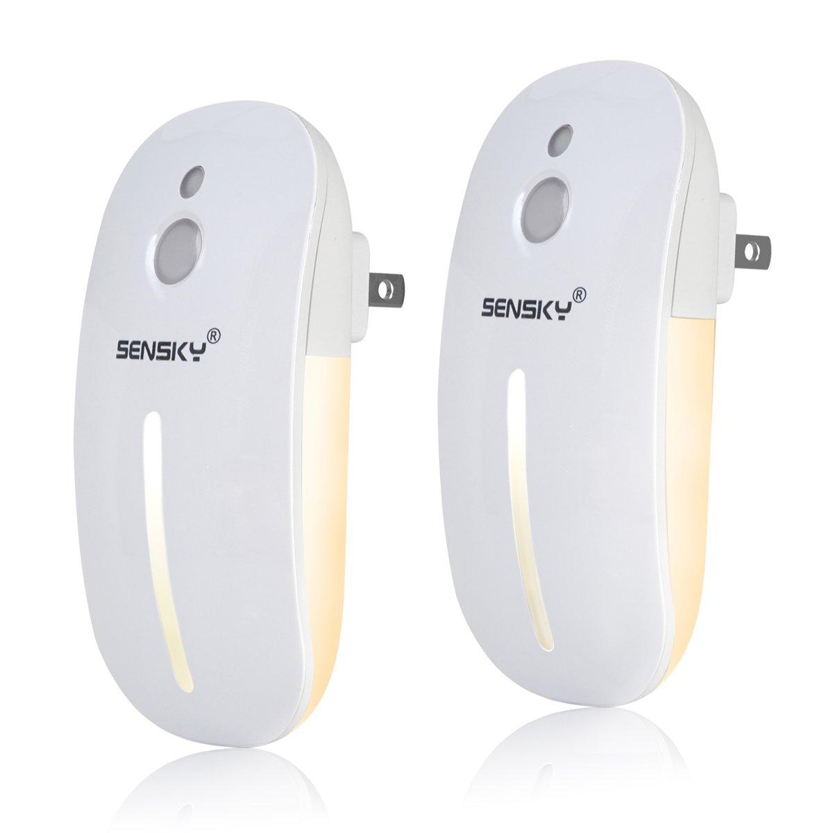 Sensky Plug in LED Night Light, Dusk to Dawn Sensor Light Sensor Warm Light Brightness Adjustable for Kitchen, Hallway, Stairs, Garages, 2-Pack