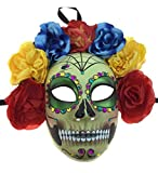 KBW Adult Unisex Female Day of Dead Full Face Mask with Rose Flower Crown, Colorful Mardi Gras Sugar Skull Multicolored One Size Mexican Spanish Tradition Halloween Costume Accessory
