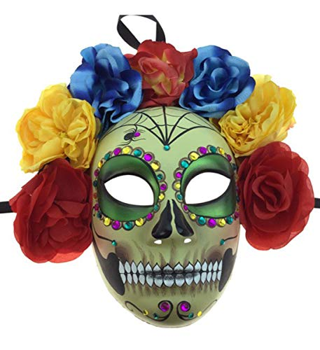 KBW Adult Unisex Female Day of Dead Full Face Mask with Rose Flower Crown, Colorful Mardi Gras Sugar Skull Multicolored One Size Mexican Spanish Tradition Halloween Costume Accessory -