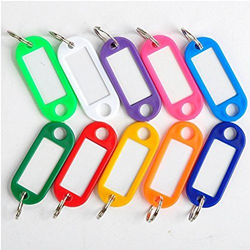 PAAITER 30 Coloured Plastic Key Fobs Luggage ID Tags Labels Key rings with Name Cards