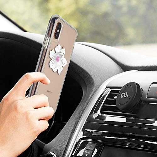 Case-Mate - CAR Charms - Decorative Metal Plate + Magnetic Car Vent Mount - White Flower