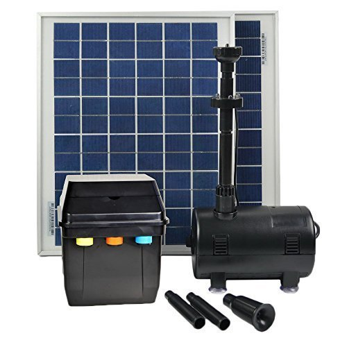 ASC Solar Panel with Water Pump Battery/Timer Control System and LED Lights With Winter Mode (20 Watts) by ASC