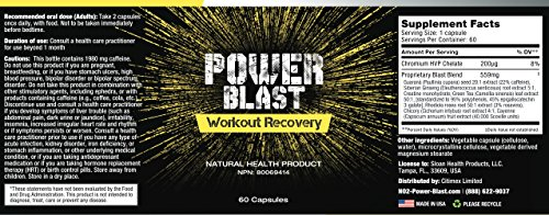 POWER BLAST- Workout Recovery - Rapid Recovery and Repair- Post Workout Recovery Supplement- 60 Capsules
