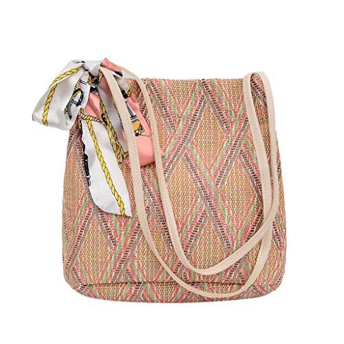 Kangma Handmade Straw Purse Wild Beach Shoulder Bag Summer National Vocation Handwoven Vintage Bags Crossbody For Women