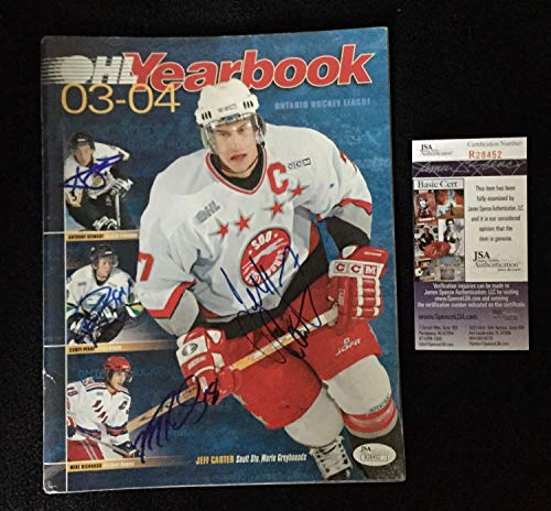 Jeff Carter Corey Perry Mike Richards A Stewart Autographed Signed Ohl Yearbook JSA