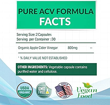 Organic Apple Cider Vinegar Capsules - Pure and Raw ACV Pills for Natural Weight Loss, Detox, Cleanse - Keto Friendly Supplement