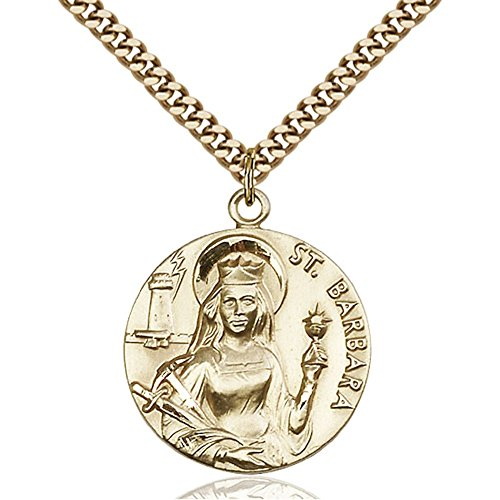 Gold Filled St. Barbara Pendant 1 x 7/8 inches with Heavy Curb Chain by Bonyak Jewelry Saint Medal Collection