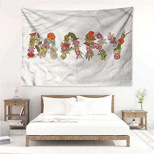 Sunnyhome Large Wall Tapestry,Mary Blooming Flower Letters,Literary Small Fresh,W23x19L]()