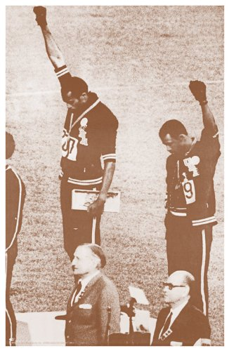 1968 Olympics Black Power Salute Tommie Smith and John Carlos Sepia Poster