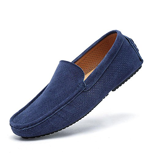 UNN Mens Loafers Casual Boat Shoes Genuine Leather Slip On Driving Moccasins Hollow Out Breathable Flats (9.5, Dark blue2) - Genuine Leather Shoes