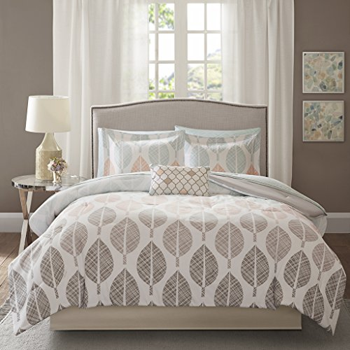 Madison Park Essentials Central Park Twin Size Bed Comforter Set Bed in A Bag - Coral, Aqua, Taupe, Leaf - 7 Pieces Bedding Sets - Ultra Soft Microfiber Bedroom - Aqua Coral
