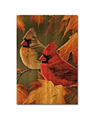 WGI-GALLERY 1624 Maple Leaves and Cardinals Wooden Wall Art
