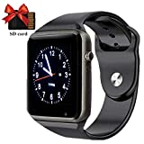 Smart Watch, Bluetooth SmartWatch for Android iOS Phones with Camera SIM Card Slot Pedometer Phone Call/Message Sync Music Player Wrist Watch for Men Wome,Black