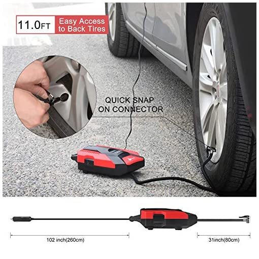 Foseal Car Tyre Inflator, Air Compressor Tyre Pump 12V for Car Tyres with 3 Nozzle Adaptors and LED Light, Fast… Portable Air Compressors bag