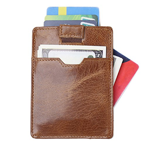 - RFID Blocking Minimalist Travel Wallet credit cards holder Slim Front Pocket With Smart Pull Tab