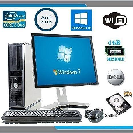 Dell OptiPlex Ordenador Torre con Dell LCD Negro / PLATA Monitor - Genuino Windows 10 - Intel Core 2 DUO CPU - 250gb disco duro - 4gb RAM -DVD- ...