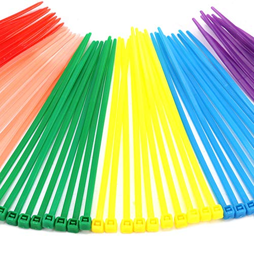 dcb1acd710fb Red,Yellow,Green,Purple,Pink,Blue for Outdoor Garden Office Use 480pieces 4  Nylon Cable Ties Self-Locking Zip ...