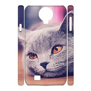 3D Samsung Galaxy S4 Case Sleepy Cat, [White]