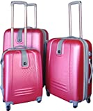 Zota Collection Travel Luggage 3 Piece Set Hardshell Spinner ABS Pink, Bags Central