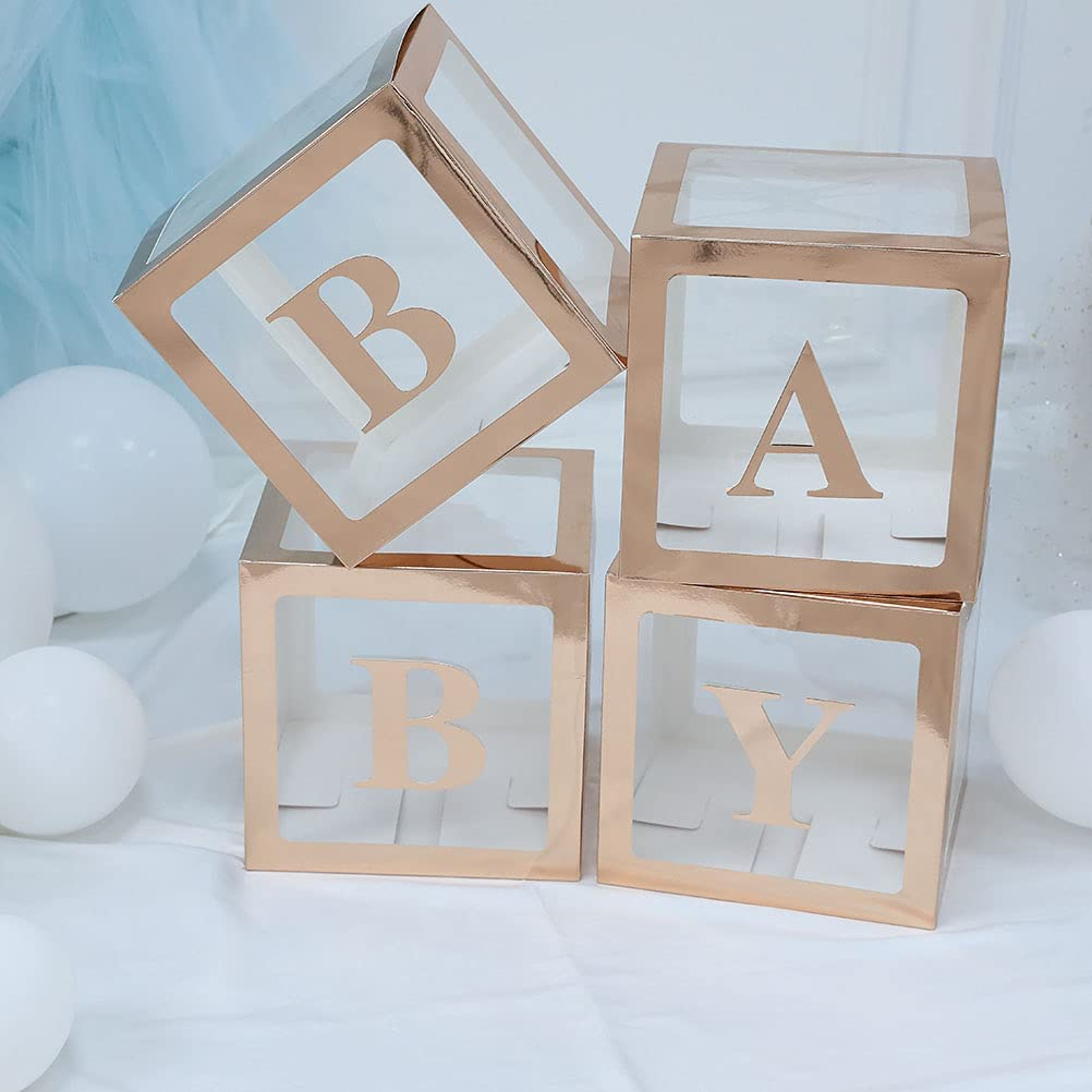 Baby Shower Boxes Decorations for Girl & Boy, 4-Pack Transparent Balloons Boxes Décor with BABY Letters for Gender Reveal Baby Shower Decorations Bridal Showers Birthday Party, Rose Gold
