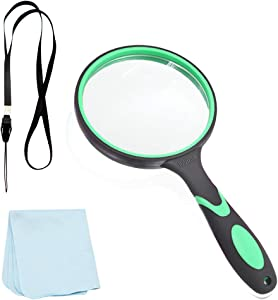 10X 100mm Shatterproof Magnifying Glass, Premium Handheld Reading Magnifier Perfect for Kids and Seniors, Magnifying Lens with Non-Slip Rubber Handle for Reading, Hobby Observation, Science (Green)