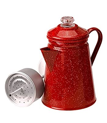 Camping 8 Cup Red Enamel Percolator Coffee Pot. Hiking Outdoor Steel Tea Kettle ? What's Hot