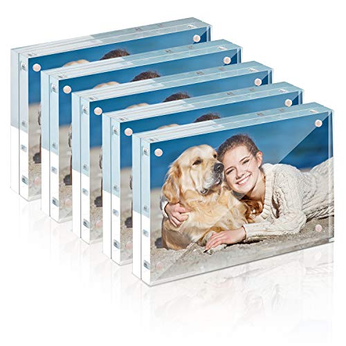 TWING Frames 4×6 Acrylic Picture Frame Set -12 + 12MM Thickness Clear Photo Frame (4 x 6 5 Pack)
