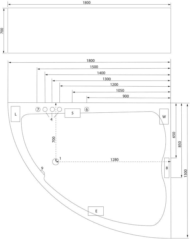 Ba/ñera hidromasaje Royal XL 1800 Premium derecha 180x130x70cm L//A//A