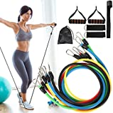 AMONE 11pcs Exercise Resistance Bands Set,Fitness Strength Tension Bands with 5 Tubes,Hand Grips,Door Anchor,Foot Ring and Storage Bag for Women Yoga,Crossfit, Men Gym,Home Use
