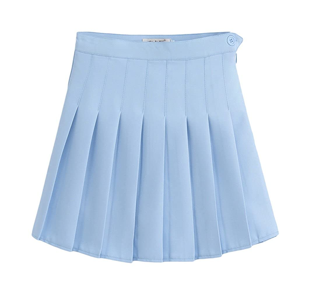 Jixin4you Women Solid Ruched Tennis Mini Pleated Skirt JX4U180124457