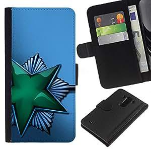 A-type (Verde Brillante Estrella soviética) Colorida Impresión Funda Cuero Monedero Caja Bolsa Cubierta Caja Piel Card Slots Para LG G3