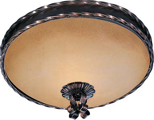 Maxim 20601VAOI Aspen 2-Light Flush Mount, Oil Rubbed Bronze Finish, Vintage Amber Glass, MB Incandescent Incandescent Bulb , 60W Max., Dry Safety Rating, Standard Dimmable, Linen Fabric Shade Material, Rated Lumens