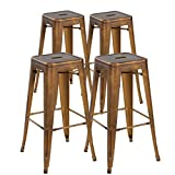 Bar Stools 26 26inch Backless Tolix Style Metal Bar Stools Set of 4 Vintage Counter Height Stools, Antique Copper