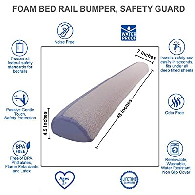 Foam Bed Bumper | Toddler Bed Rail | Foam Safety Sleep Guard for Bed | Safety Side Pillow Pad | Side Rail | Water-Resistant, Non-Slip, Machine Washable Cover | Babies, Toddlers, Kids, Adults | Travel