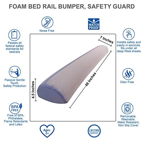 Foam Bed Bumper | Toddler Bed Rail | Foam Safety Sleep Guard for Bed | Safety Side Pillow Pad | Side Rail | Water-Resistant, Non-Slip, Machine Washable Cover | Babies, Toddlers, Kids, Adults | Travel by INEX Life (Image #1)