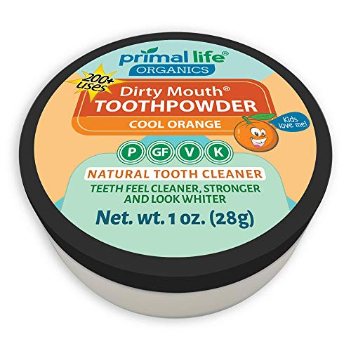 Dirty Mouth Organic Toothpowder #1 Best Rated All Natural Dental Cleanser- Gently Polishes, Whitens, Re-Mineralizes, Strengthens Teeth - Cool Orange (1 oz = 3mo Supply) - Primal Life Organics