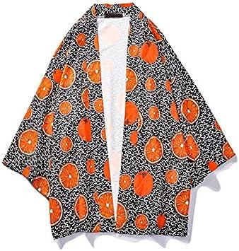 DXHNIIS Naranja de impresión Completa de los Hombres Kimono de Manga Tres Cuartos de Playa de Verano Camisas Tropicales Hombres Suelta Camisa de los Hombres M para Hombre Camisa: Amazon.es: Deportes y