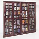 cherry glass cabinet - Leslie Dame MS-1400DC Mission Style Multimedia Storage Cabinet with Sliding Glass Doors, Cherry
