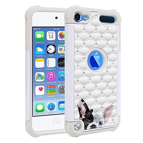 FINCIBO Case Compatible with Apple iPod Touch 5 6th Generation, Dual Layer Shock Proof Hybrid Protector Case Cover TPU Sparkle Rhinestone Bling for iPod Touch 5 6 - French Bulldog Puppy Dog Eyepatch