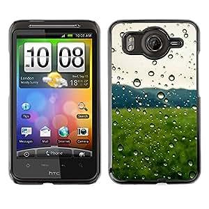 LECELL--Funda protectora / Cubierta / Piel For HTC G10 -- Gotas de lluvia Campo Verde --