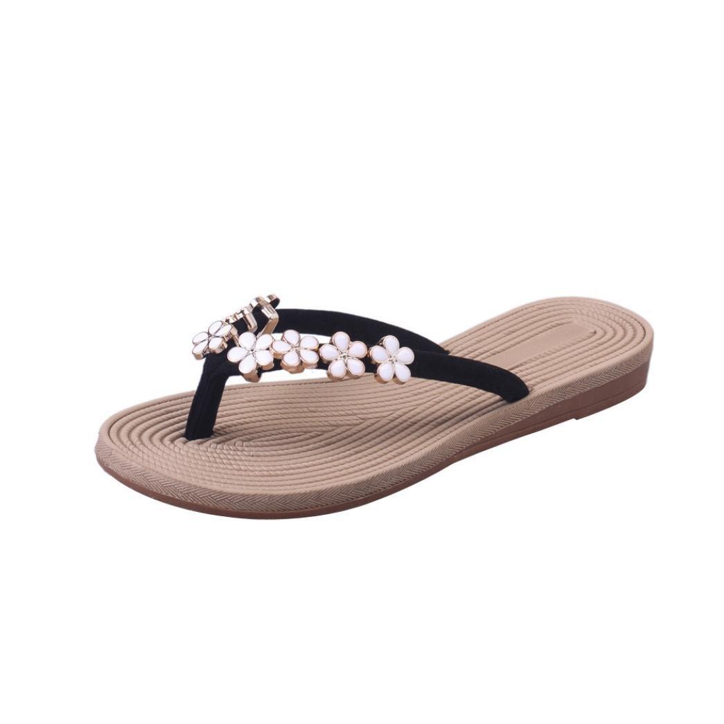 WOCACHI Women Flip Flops Floral Slipper Fashion Solid Sandals Beach Slip Shoes