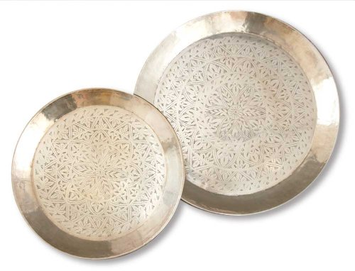 Two's Company Tozai Marrakech Antique Silver Plated Engraved Round Tray, Assorted 2 Sizes, Set of 2