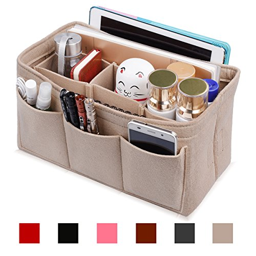 Felt Purse Insert Organizer, Handbag organizer, Bag in Bag for Handbag Purse Tote, Diaper Bag Organizer, Stand on Its Own, 12 Compartments, 3 Sizes (XL, Beige)