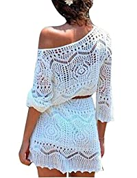 LD para mujer Transparente Crochet manga larga vestido de playa bikini coverups