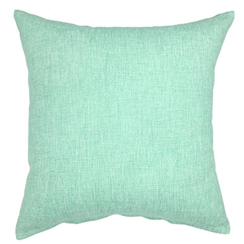 YOUR SMILE Solid Teal Square Cotton Linen Decorative Throw Pillow Case Cushion Cover Pillowcase for Sofa 18 x 18 Inch