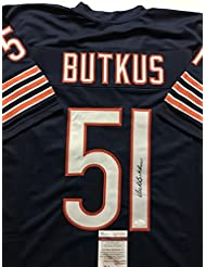 Autographed/Signed Dick Butkus Chicago Bears Blue Football Jersey JSA COA